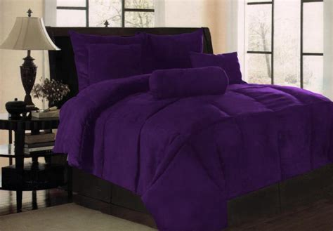 Purple Size Comforter Sets by New Solid Purple Micro Suede Bedding Comforter Set King Ebay