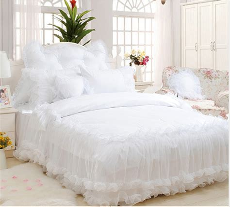 korean web site to order white satin bedspreafs korean white lace jacquard satin bedding set luxury 4pcs princess ruffles duvet cover bed skirt