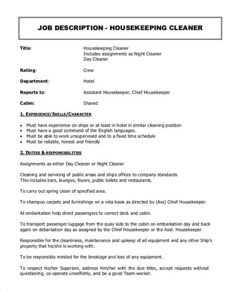 housekeeper description exle 14 free word pdf