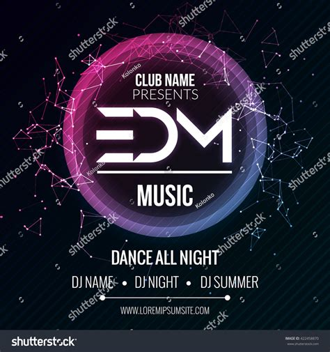party music edm club music party template dance stock vector 422458870