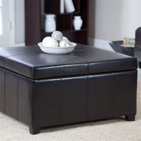 Coffee Table With Storage Ottoman Cape Town Large Leather Storage Ottoman Coffee Tables At Hayneedle