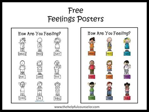 free printable emotions poster free feelings poster and coloring page english feelings