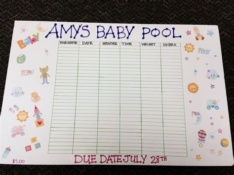 Baby Pool Template 6 best images of baby due date chart printable baby due