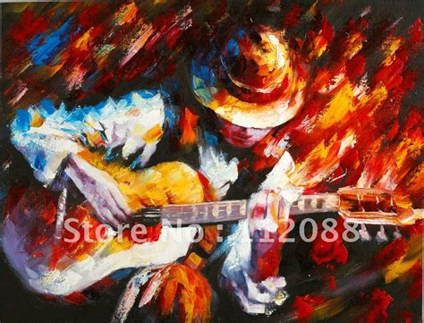 painting wholesale free shipping high quality 100 handmade guitarist