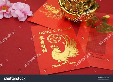 new year greeting mandarin new year angpow packets stock photo