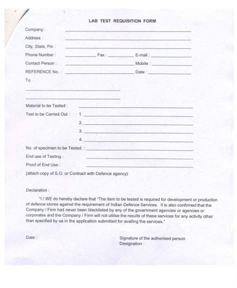 lab requisition form template 43 free requisition forms