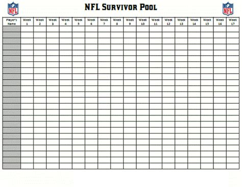 nfl pool template 100 squares grid printable search results calendar 2015