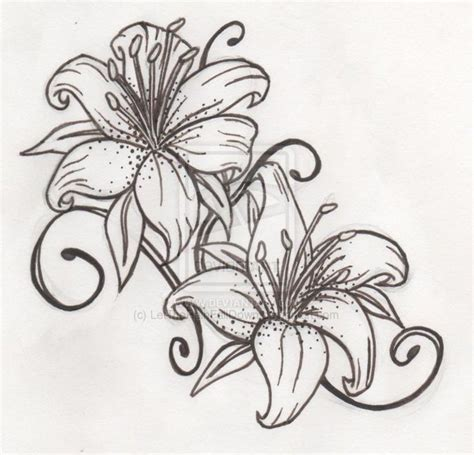 tattoo flower outline outline lily flower tattoo design