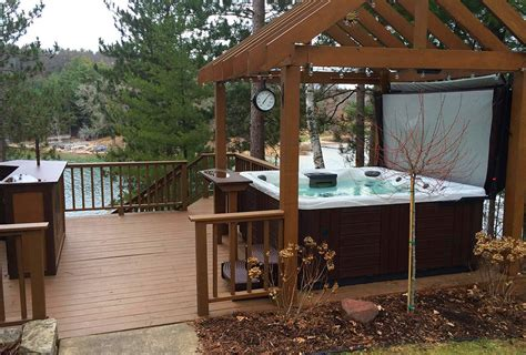 backyard deck designs with hot tub backyard ideas for hot tubs and swim spas