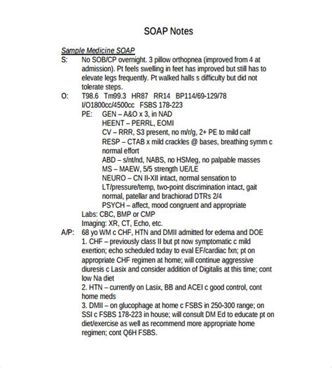 Soap Note Template 9 Free Word Pdf Format Download Free Premium Templates Soap Note Template Counseling