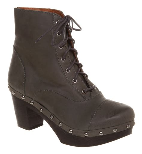 womens office kickass grey leather boots ebay