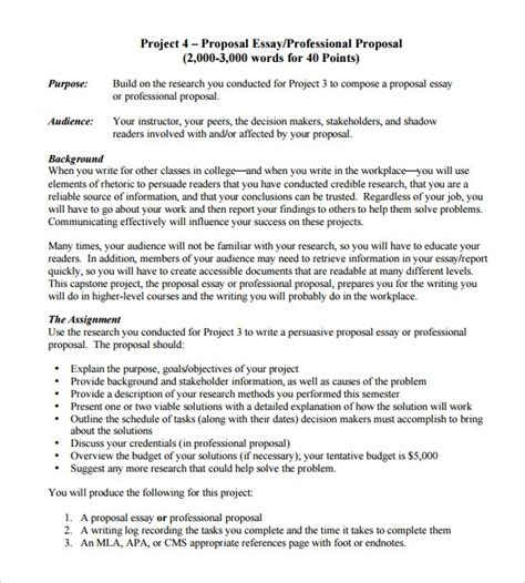 sample professional proposal template  documents   word