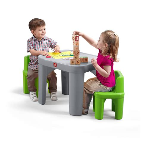 steps table with storage and 4 chairs set espresso mighty my size table chairs set step2