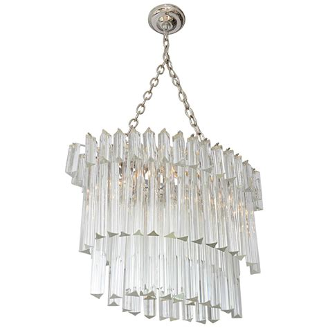 Glass Prisms For Chandeliers Venini Glass Prism Oval Chandelier At 1stdibs