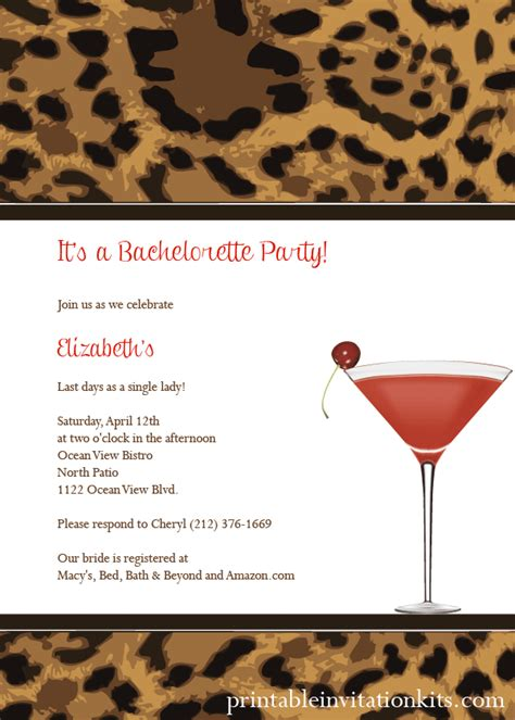 leopard print cocktail party invitation wedding