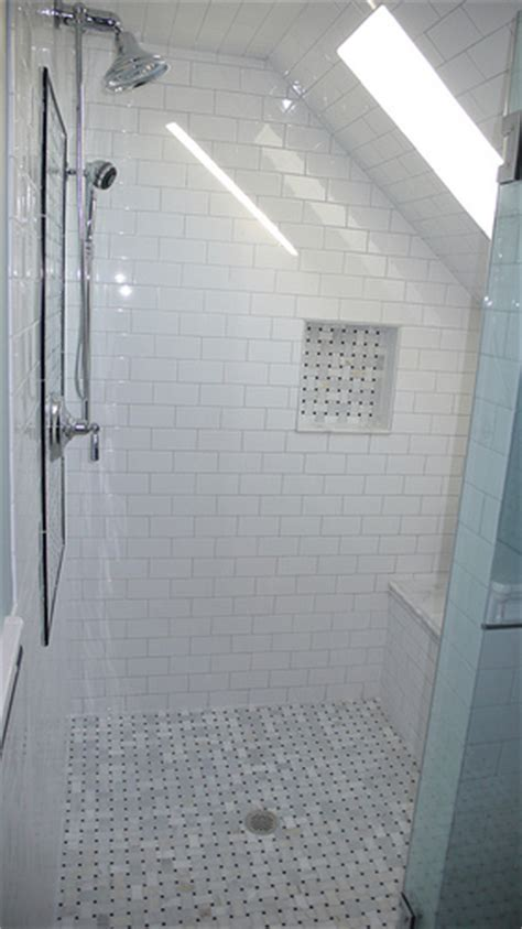 our shower basketweave marble floor and accents white