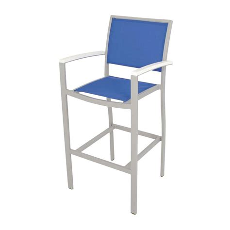 Blue Sling Patio Chair Polywood Bayline Textured Silver White Royal Blue Sling Patio Bar Arm Chair A292 11mwh905 The