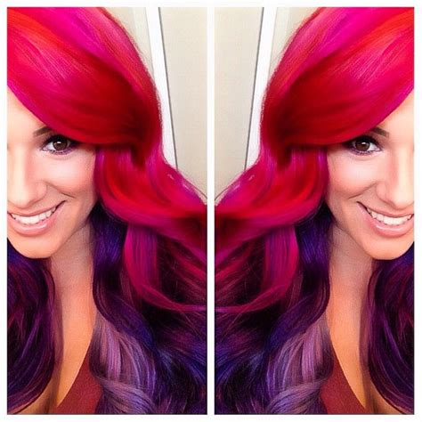 hair color on bottom hot pink with violet and a lavender like purple towards