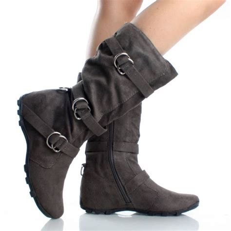 gray flat slouch boots with buckles my style