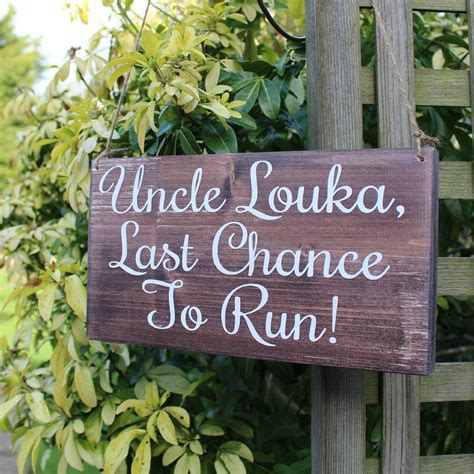 Handmade Wedding Signs - personalised last chance to run handmade wedding sign by