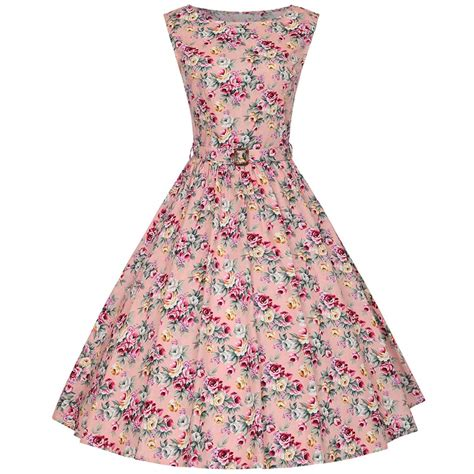vintage style 1950s a line womens sleeveless floral printed vintage flare a line