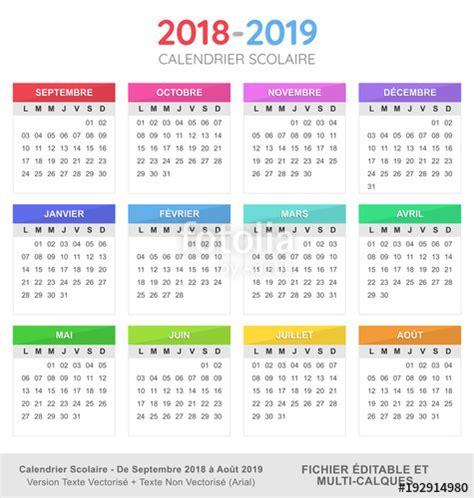 Calendrier Scolaire 2018 19 Quot Calendrier Scolaire 2018 2019 Quot Fichier Vectoriel Libre De