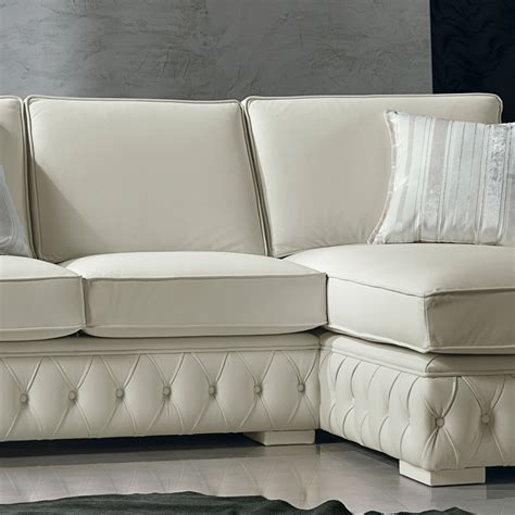 White Leather Corner Sofas Italian White Leather Corner Sofa Classi Design Teseo