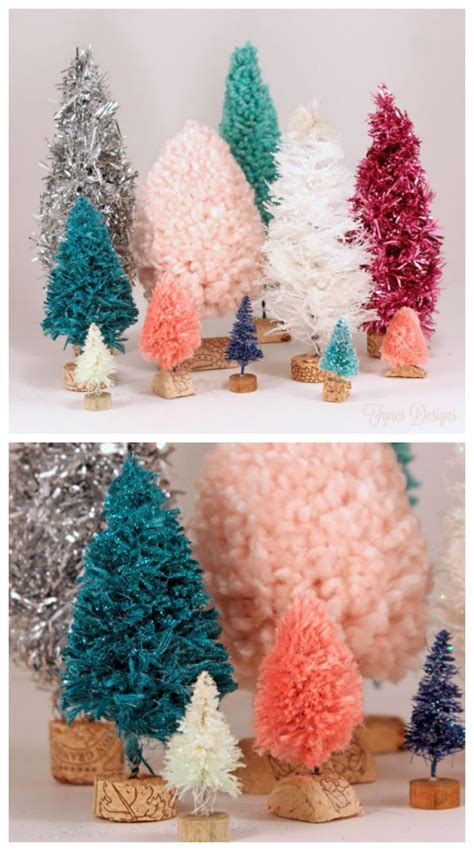 Handmade Trees - handmade bottle brush trees with yarn twine garland
