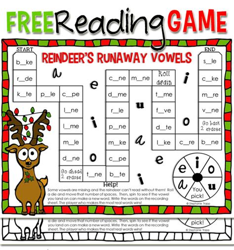 printable literacy word games christmas reading game printable primary theme park