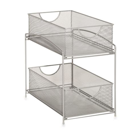 bathroom storage cabinet with baskets org 2 tier mesh double sliding cabinet basket in silver