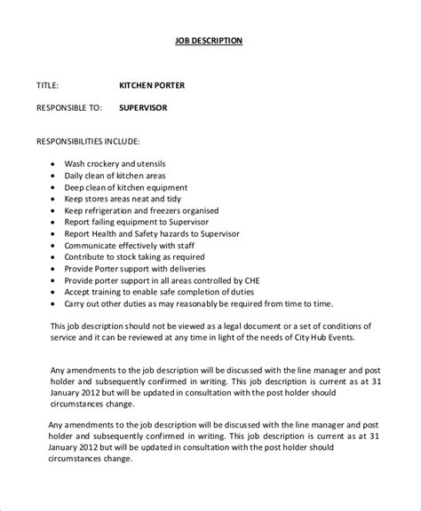 Sle Resume For Dishwasher by Kitchen Helper Description And Duties 28 Images Sle Dishwasher Description 8 Exles In Pdf