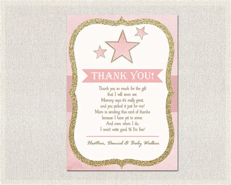 thank you letter to for baby shower baby shower thank you card pink gold thank you