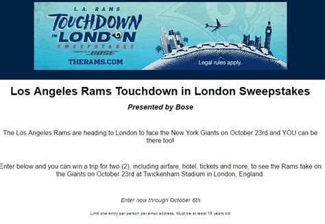 Los Angeles Sweepstakes - los angeles rams touchdown in london sweepstakes morning bubbles