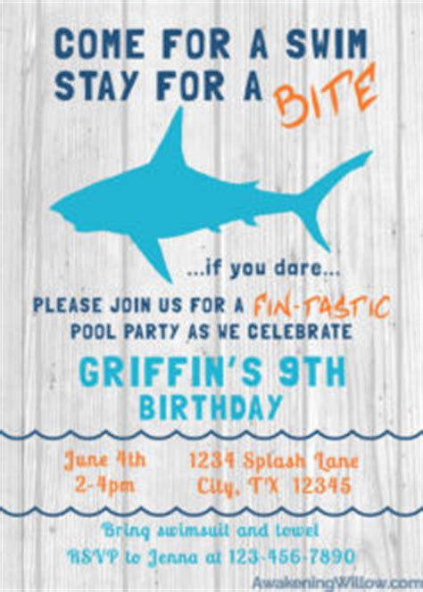 Shark Birthday Party Unique Decorations Games Invitations Thank You Party Favor Ideas Shark Birthday Invitation Template