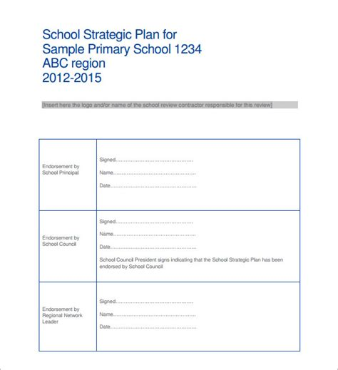 strategic plan template for schools 14 strategic plan templates pdf word sle templates