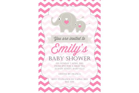 Baby Shower by Elephant Baby Shower Invitation Li Designs