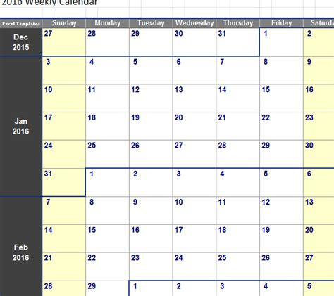 Weekly Calendar In Excel   printable 2017 calendars