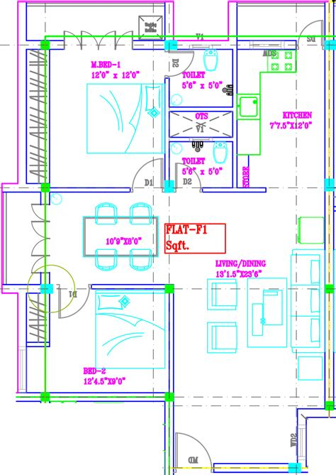 tara floor plan 1281 sq ft 2 bhk 2t apartment for sale in svp developers