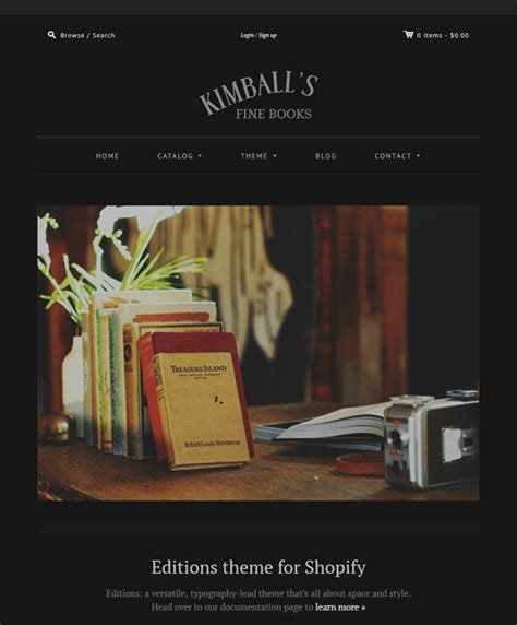 Shopify Themes Editions | 5 of the best shopify themes for books down