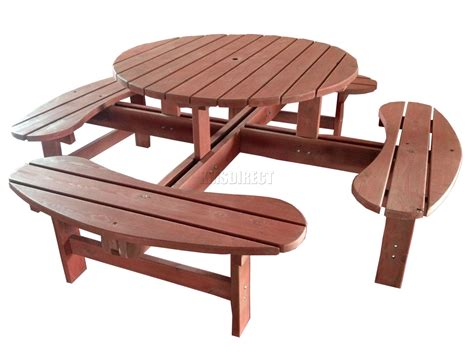 Garden Patio 8 Seat Seater Wooden Pub Bench Round Picnic Patio Table Seats 8