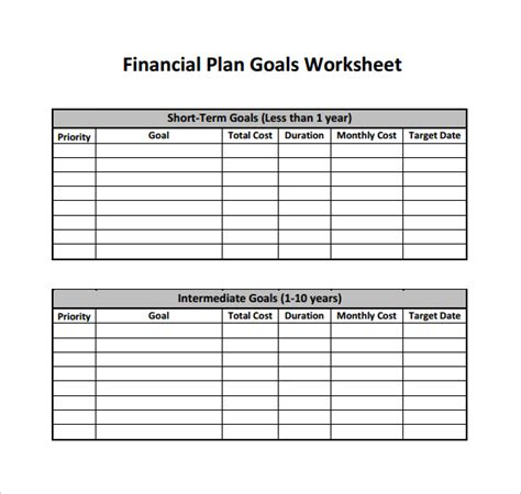 sample financial plans sample templates