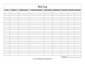 bidder bid log template