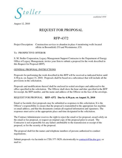 Sle Construction Proposal Letter Musiccityspiritsandcocktail Com Construction Management Rfp Template