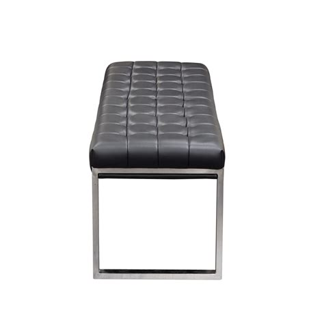 diamond sofa knox backless tufted bench  stainless