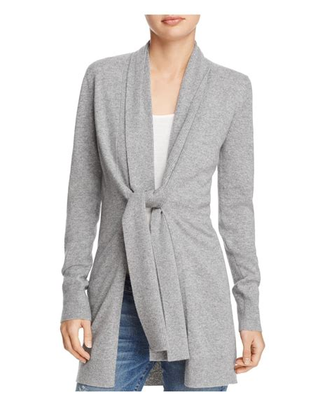 Tie Front Cardigan lyst theory tie front cardigan in gray