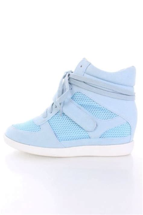 light blue faux suede lace up strapped sneaker wedges