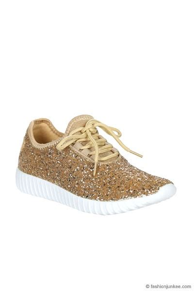 gold sparkle shoes lace up glitter sneakers gold