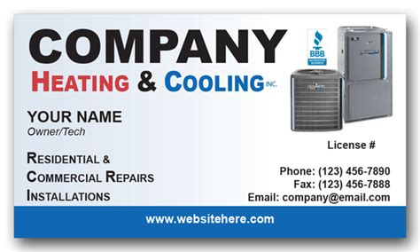 heating and cooling business card templates hvac business cards