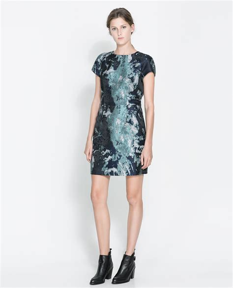 Dress Of The Day Jacquard Dress by Zara Jacquard Dress In Green Sea Green Lyst