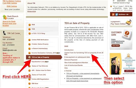 how to pay tds on sale of property basunivesh